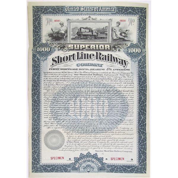 Superior Short Line Railway Co. 1895 Specimen Bond