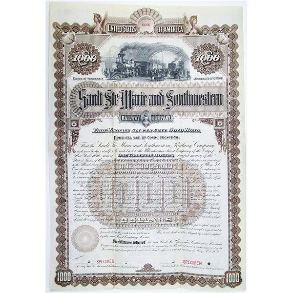 Sault Ste Marie and Southwestern Railway Co. 1889 Specimen Bond Rarity