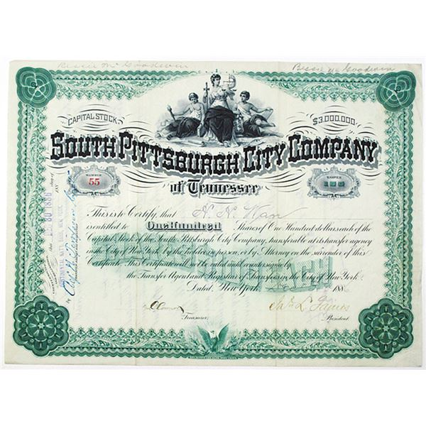 South Pittsburgh City Company of Tennessee 1886 I/U Stock Certificate
