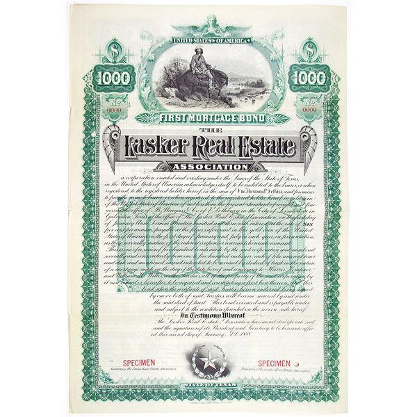 Lasker Real Estate Association 1888 Specimen Bond