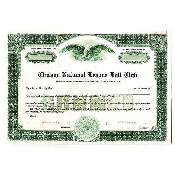 Chicago National League Ball Club, 1940-50's, Specimen Stock Certificate