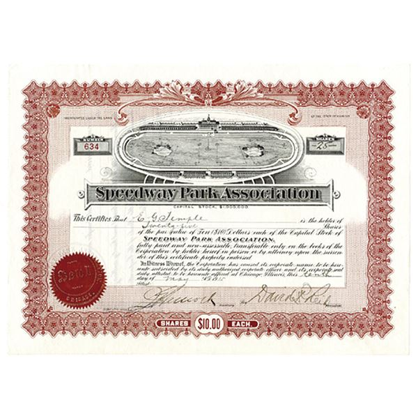 Speedway Park Association, 1915 Issued Stock Certificate With Race Track with Golf Course in Middle.