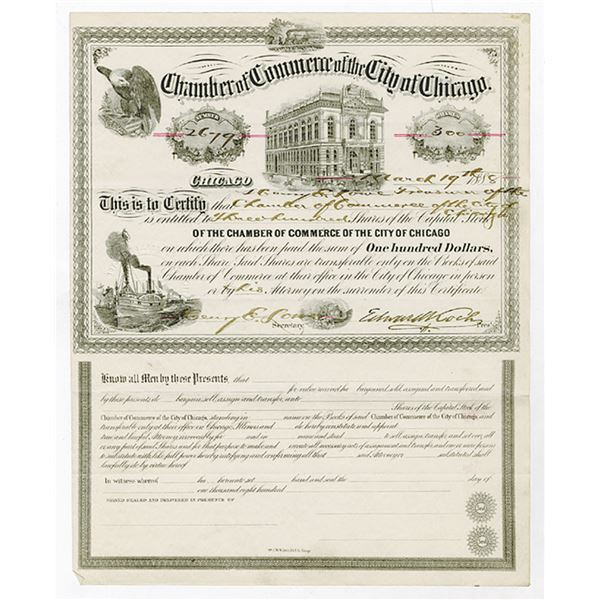 Chamber of Commerce of the City of Chicago, 1888 Issued Stock Certificate