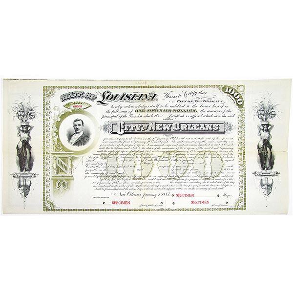 City of New Orleans 1883 Specimen Bond