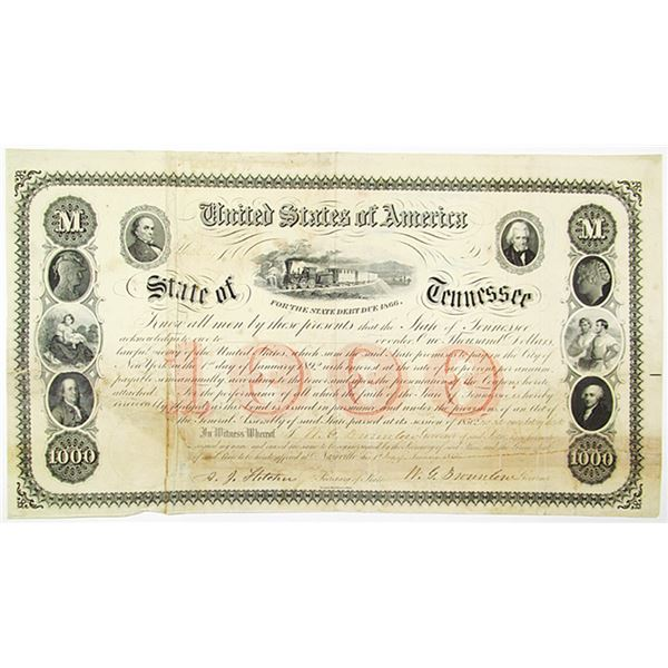 State of Tennessee, 1866 Bond Signed by William G. Brownlow, Cancelled and Repaired