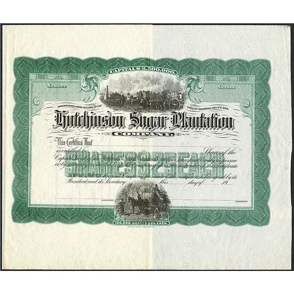 Hutchinson Sugar Plantation Co., ND (ca.1900) Proof Stock Certificate.