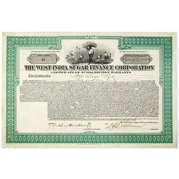 West India Sugar Finance Corp. 1919 I/U Warrant Certificate
