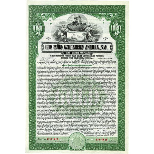 Compania Azucarera Antilla, S.A. 1924 Specimen Bond.