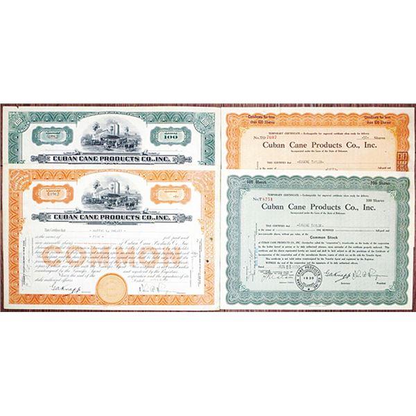 Cuban Cane Products Co. I/U Stock Certificate Quartet, ca. 1930-1931