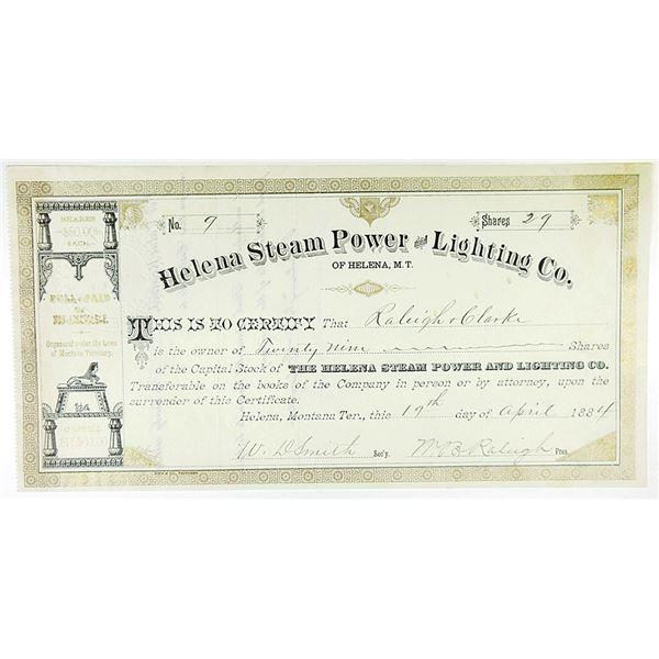 Helena Steam Power and Lighting Co. 1884 I/U Stock Certificate
