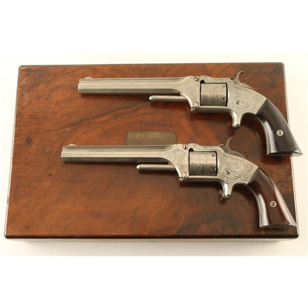 Cased Pair of Engraved Smith & Wesson No. 2