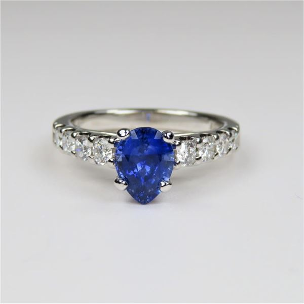 Exquisite Pear-Shaped Blue Sapphire and Diamond