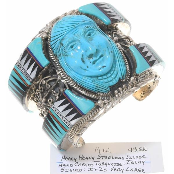 High End Navajo Carved Cuff
