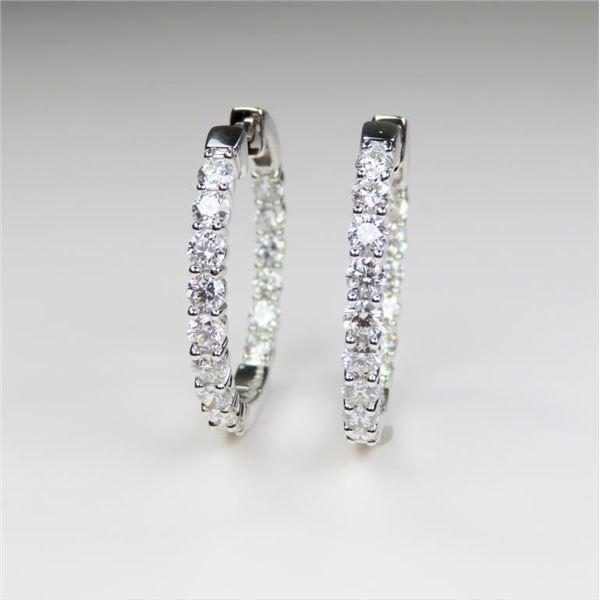 STUNNING Extra Fine Diamond Loop design Earrings