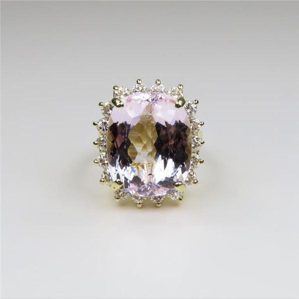 Spectacular Kunzite and Diamond Ring