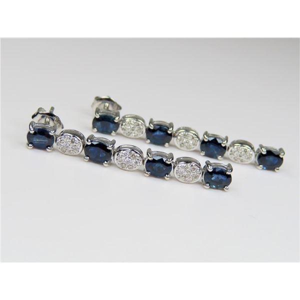 Striking Blue Sapphire and Diamond Earrings