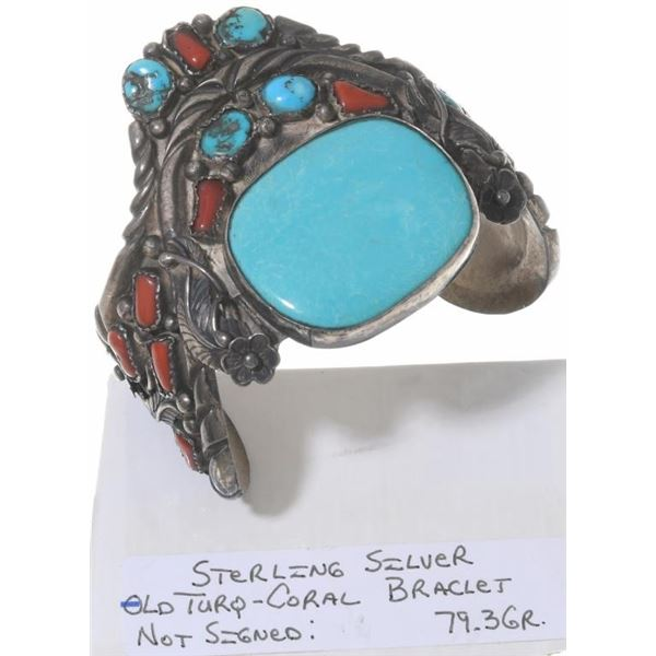 Navajo Turquoise and Coral Cuff