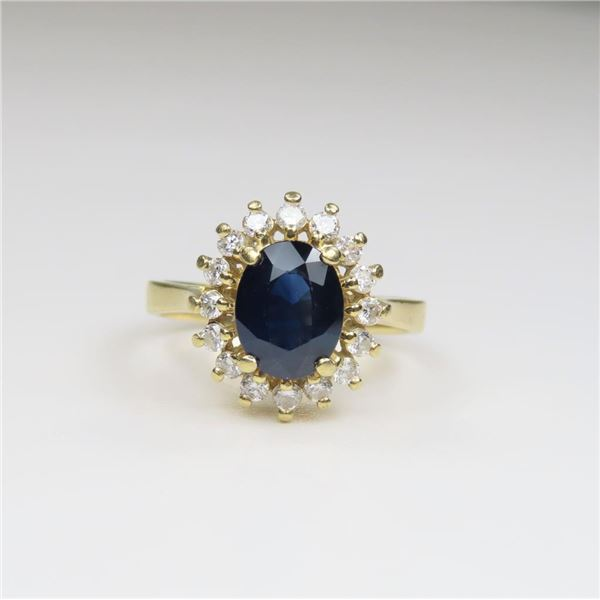 Beautiful Blue Sapphire and Diamond Ring