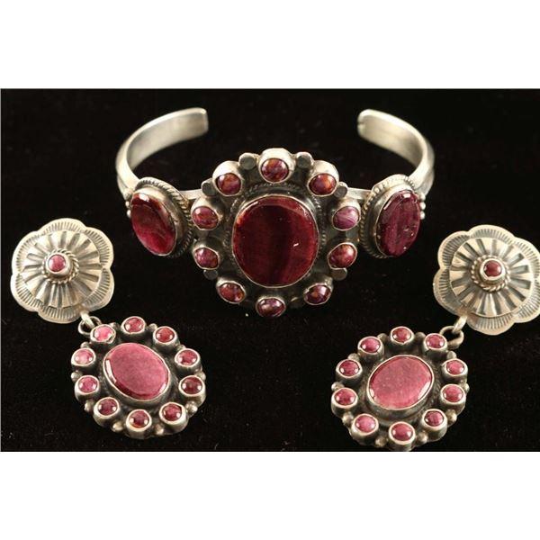Purple Spiny Oyster Bracelet & Earrings