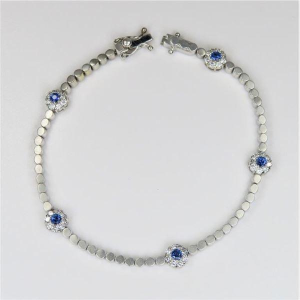 Contemporary Blue Sapphire and Diamond Bracelet