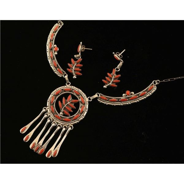 Zuni Coral Necklace & Earrings