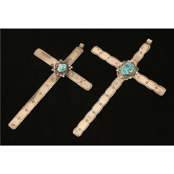 Lot of (2) Mexican Cross Pendants