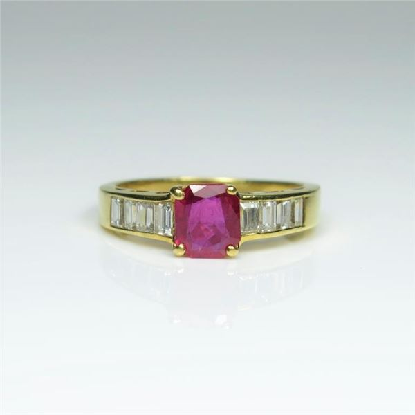 Extra Fine Natural Ruby and Diamond Ring
