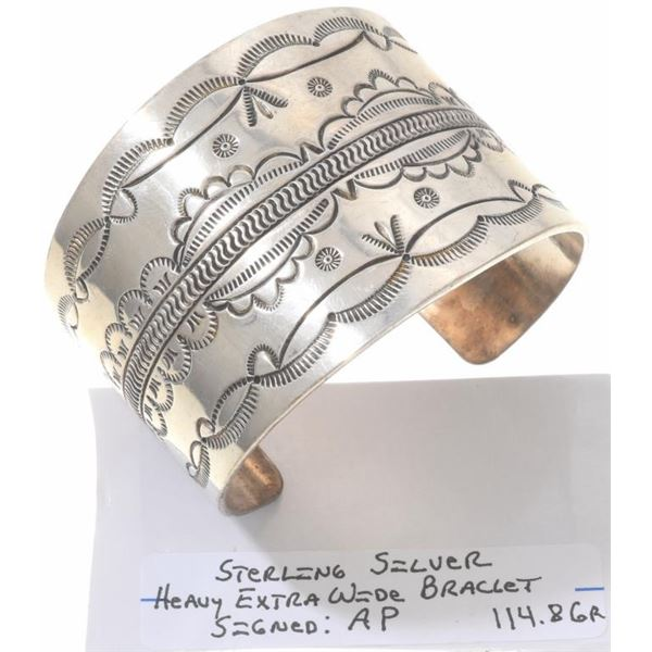 Navajo Stamped Sterling Silver Cuff