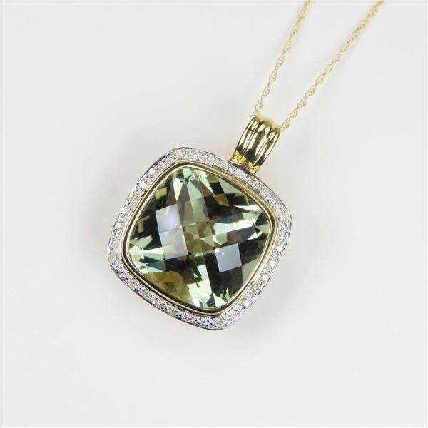 Striking Green Amethyst/Prasiolite and Diamond