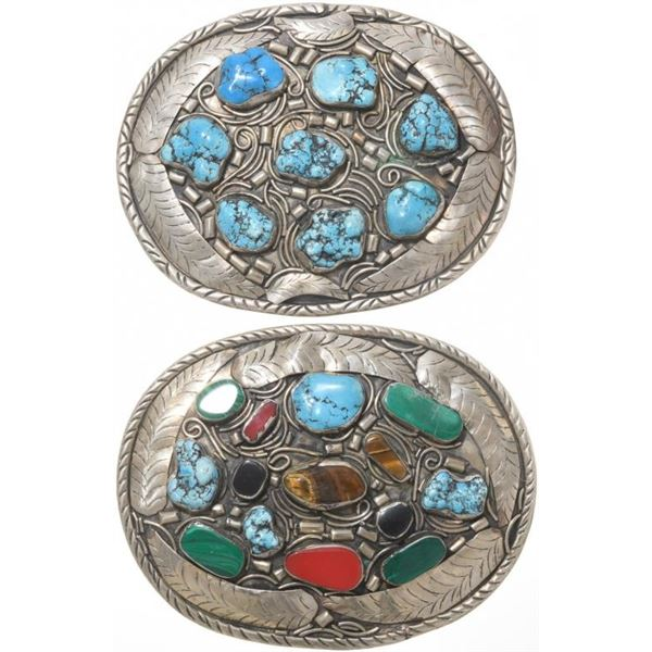 Lot of 2 Turquoise Western Belt Buckles