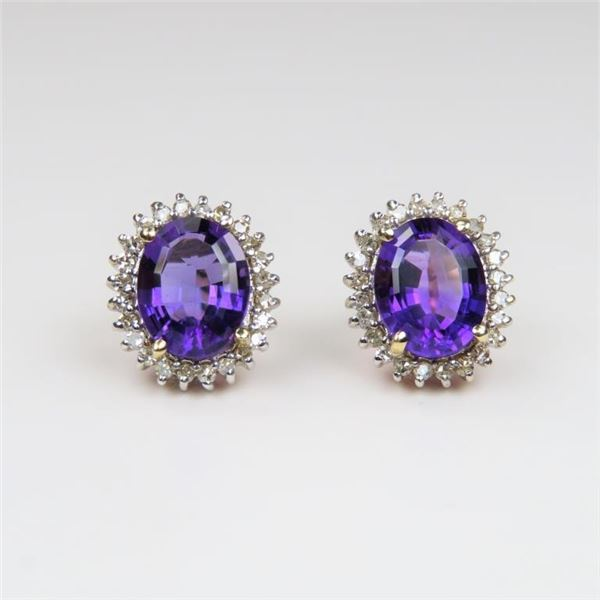 Vibrant Amethyst and Diamond Earrings
