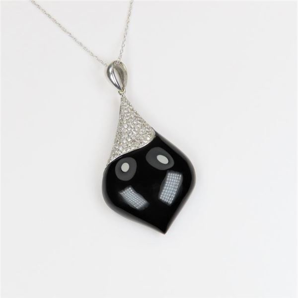 Exquisite Black Onyx and Diamond Pendant