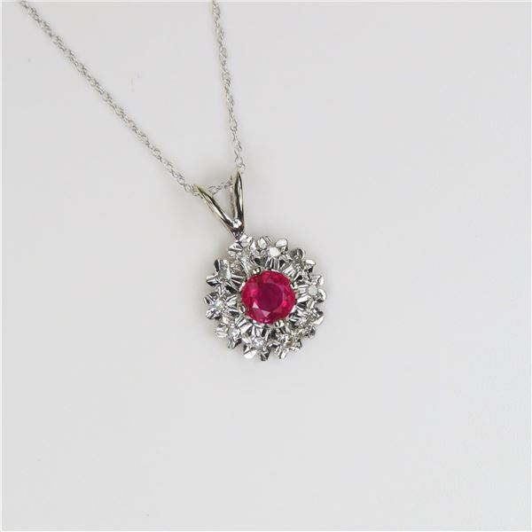 Beautiful Natural Ruby and Diamond Pendant