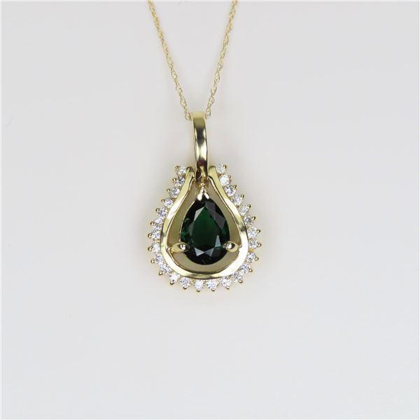 Striking Green Chrome Tourmaline and Diamond