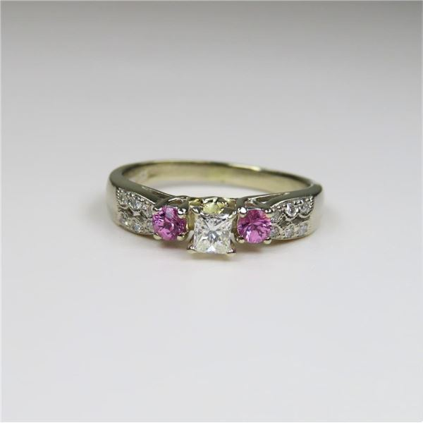 Radiant Diamond and Pink Sapphire Ring