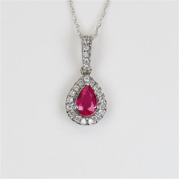 Radiant Pear Shaped Ruby and Diamond Pendant