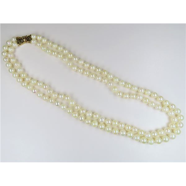 """Classy Double Strand of 18"""" Ivory Pearls"""