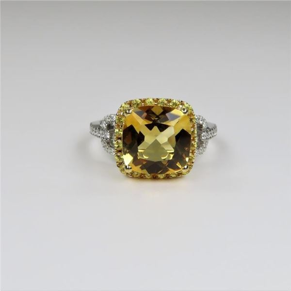 Brilliant Citrine and Diamond Ring