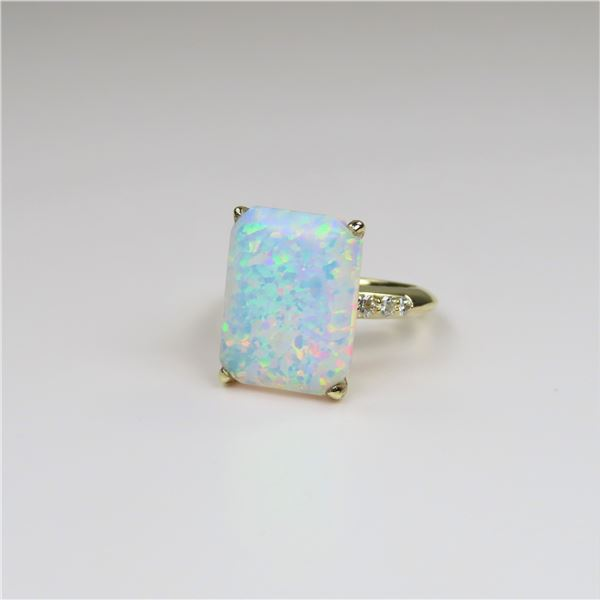 Fashionable Opal and Diamond Ring