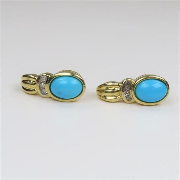 Lovely Turquoise and Diamond Earrings