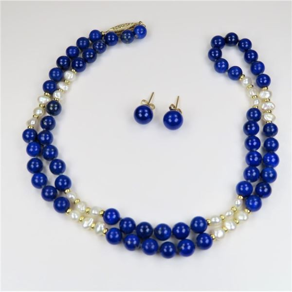 Colorful Combination of Pearls with Lapis
