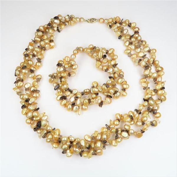 Triple Strand Gold Freeform Freshwater Pearls