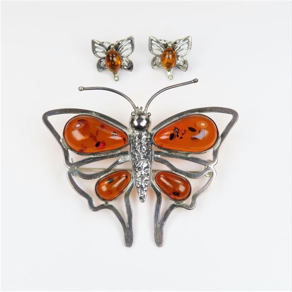 Delightful Amber and Sterling Silver Butterfly