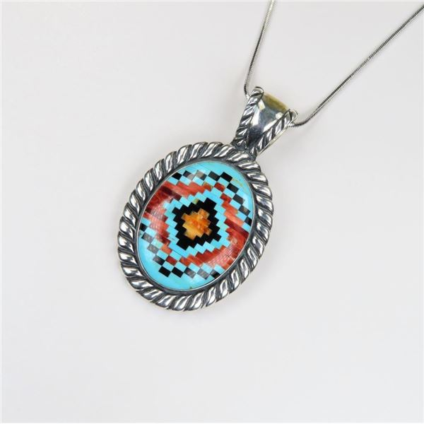Amazing Mosaic Patterned Sterling Silver Pendant