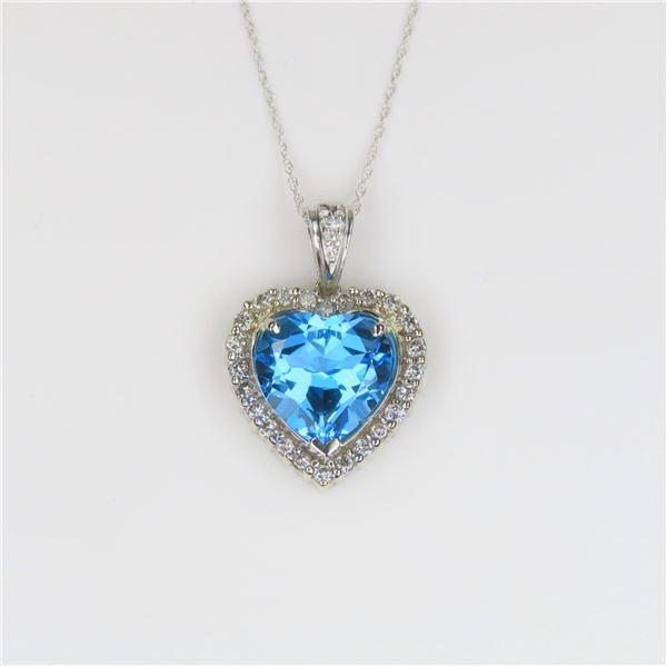 Brilliant Heart Shaped Blue Topaz pendant