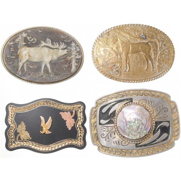 Set of (4) Western Belt Buckles