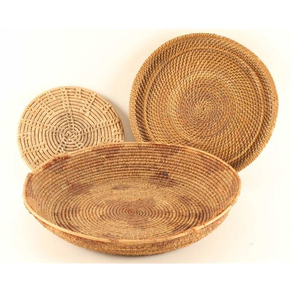 Lot of 3 Plains Indian Basketry Trays