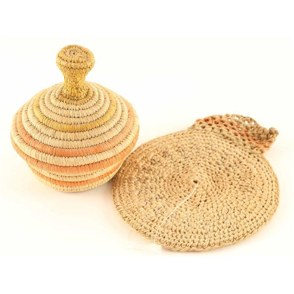 Lidded Basket and Woven Pouch