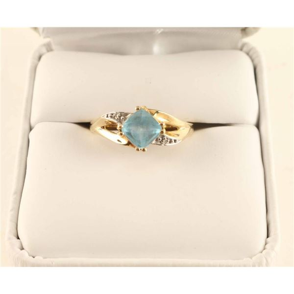 10K Gold Aquamarine Ring
