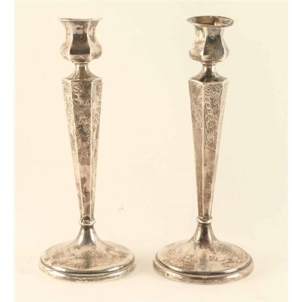 Lot of (2) Sterling Silver Candle Holders